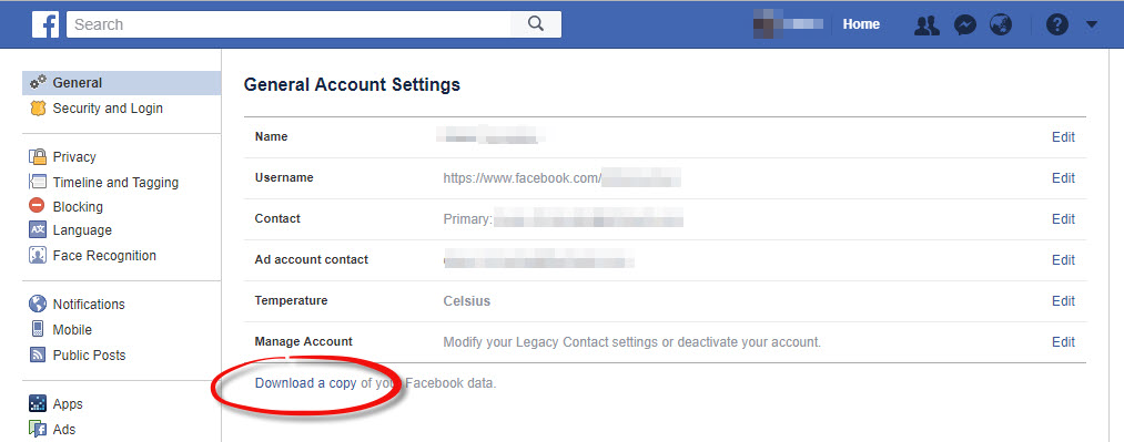 Export your Facebook data - Step 2