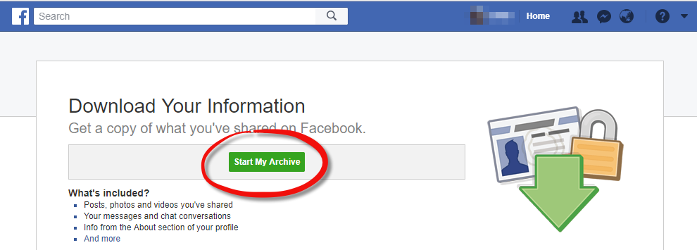 Export your Facebook data - Step 3