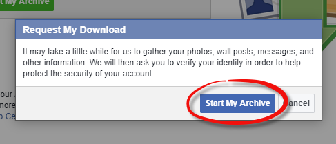 Export your Facebook data - Step 5