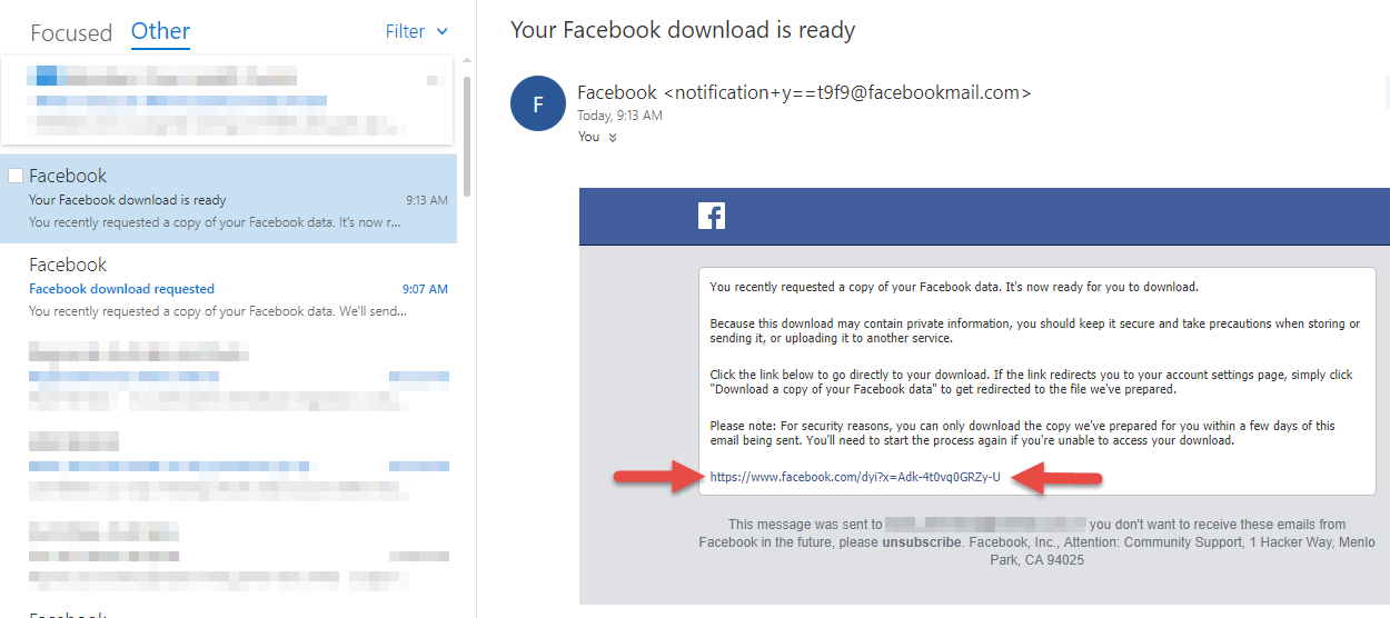 Export your Facebook data - Step 7