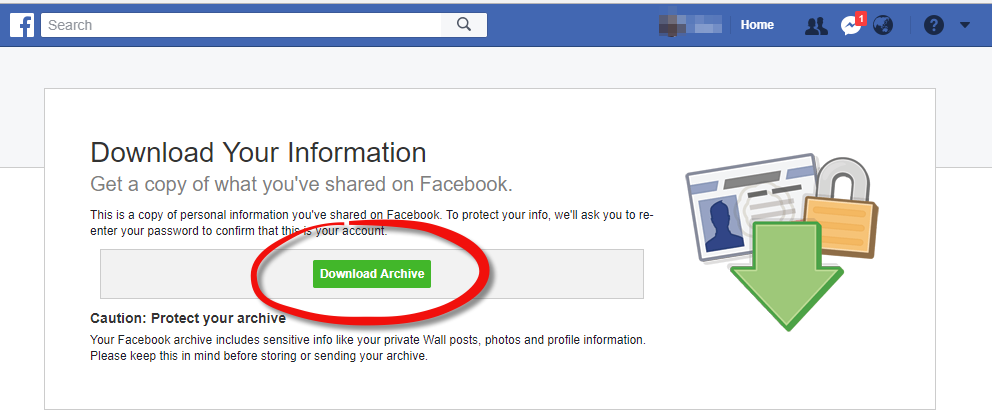 Export your Facebook data - Step 8