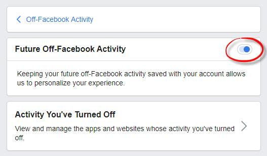 Off-Facebook Activity screen shot
