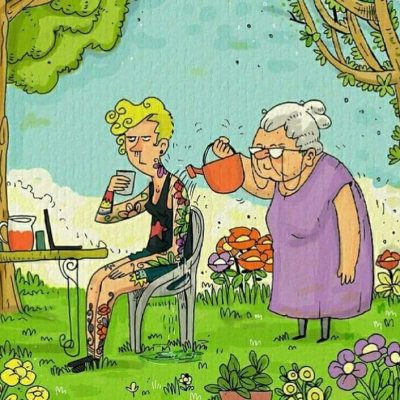 Older lady watering young girls flower tattoo | 60 Plus Club