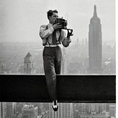 """The picture behind the picture. This is a picture of photographer Charles C. Ebbets, who took the world famous photograph, """"Lunch atop a Skyscraper""""."""